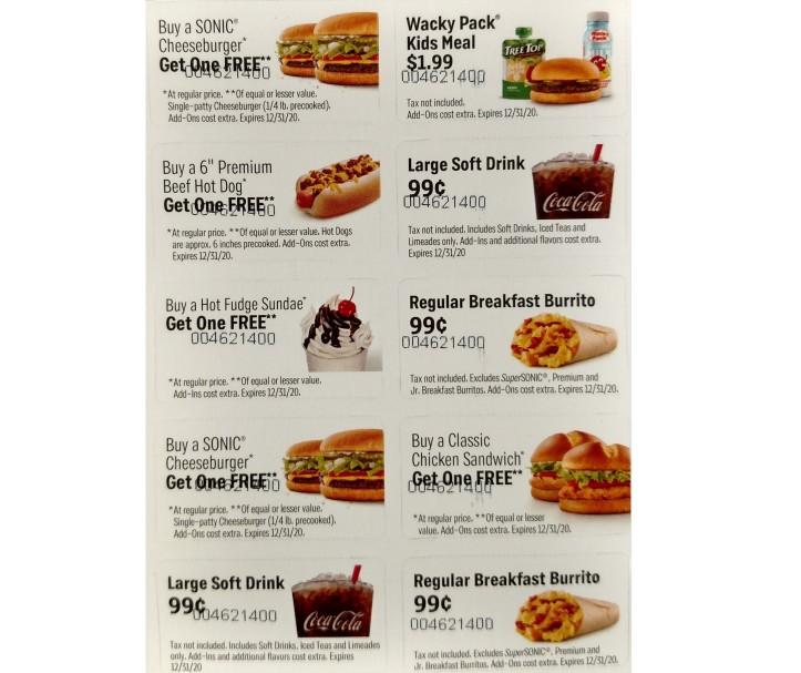 pics - sonic coupon card